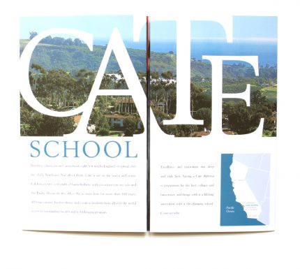 View book and direct mail designed for Cate School in Carpinteria, California.
