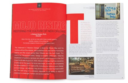 Annual report design for Ogden Museum of Southern Art.
