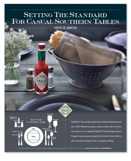 Advertising design for Tabasco.