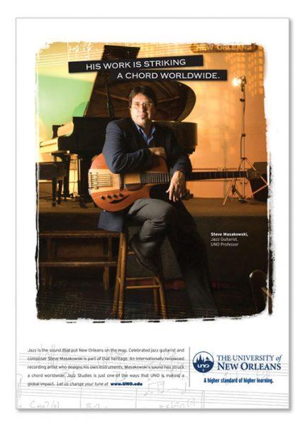 Advertising design for University of New Orleans.