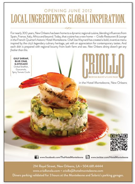 Advertising design for Criollo in Hotel Monteleone.