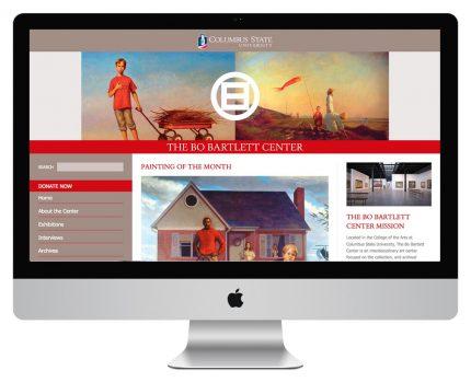 Website design for Bo Bartlett Center at Columbus State University.